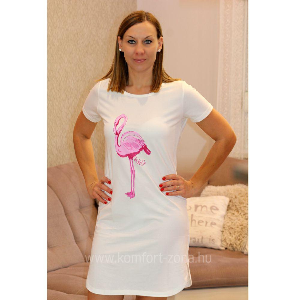 Hálóing   KO-GO Krém Flamingós Női Hálóing - Komfort-Zóna ... de388b3af5