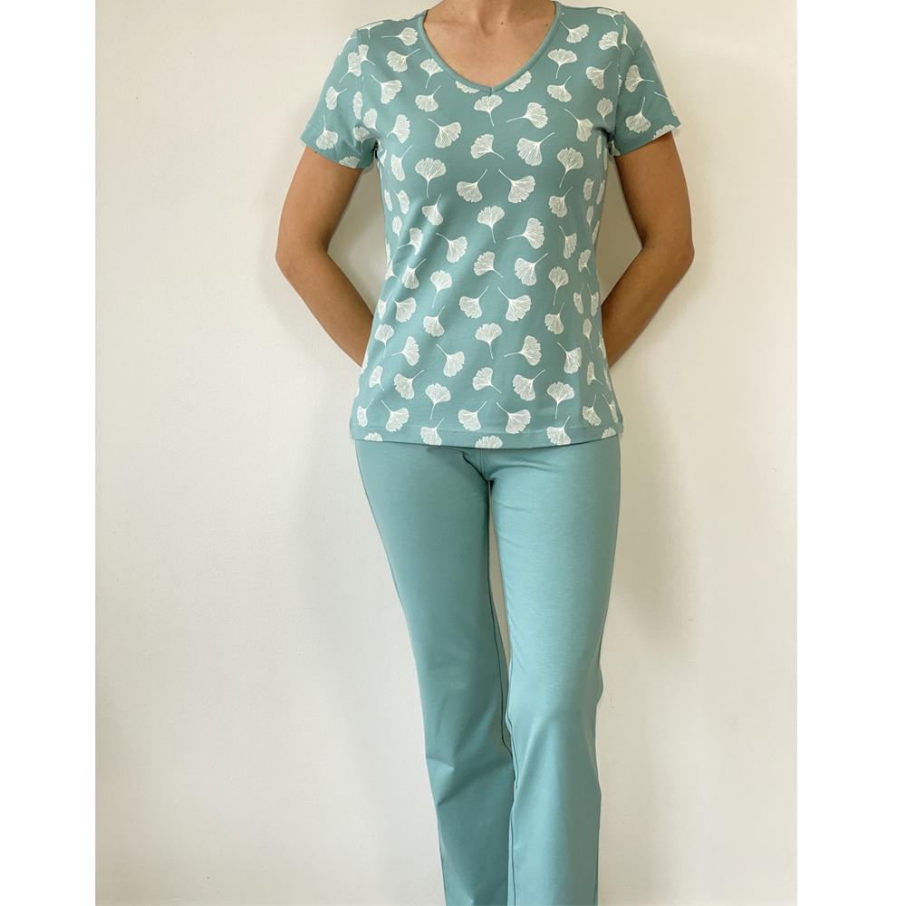 KO-GO Gingko-mintás Kombinált Női Pizsama