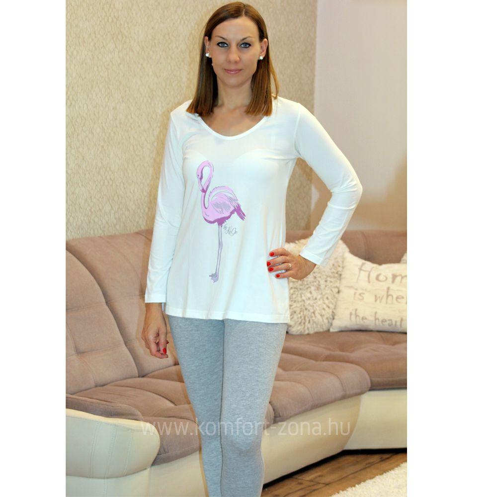 Pizsama   KO-GO Krém-Szürke Flamingós Női Hosszú Pizsama - Komfort-Zóna  4aa5edd047