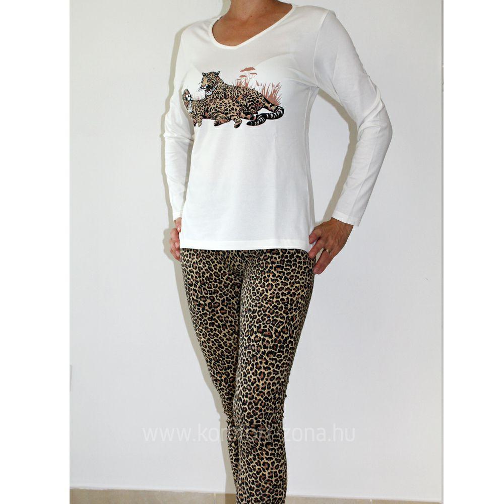 KO-GO női leopárd mintás hosszú pizsama