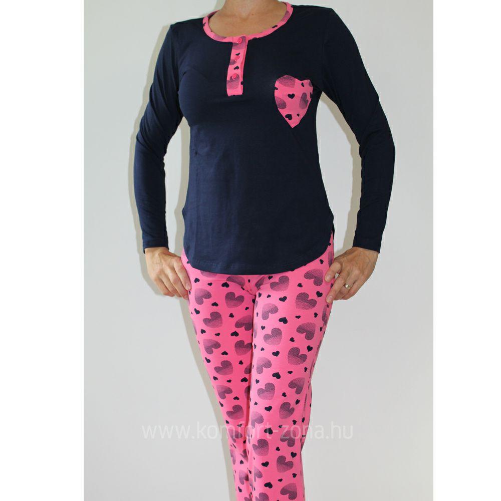 KO-GO női szívecskés zsebes hosszú pizsama kék