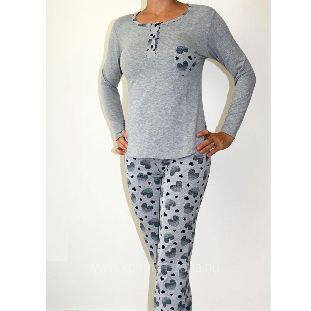 KO-GO női szívecskés zsebes hosszú pizsama szürke