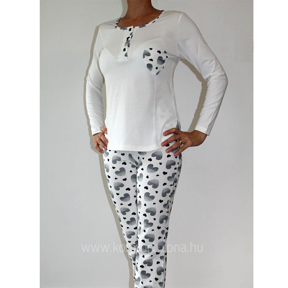 KO-GO női szívecskés zsebes hosszú pizsama tojás