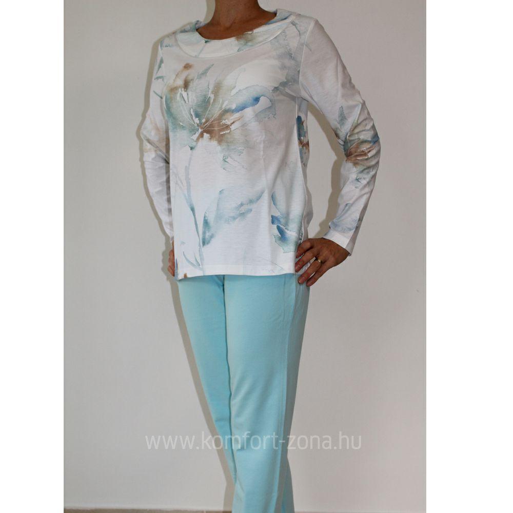 KO-GO női pasztell mintás hosszú pizsama kék