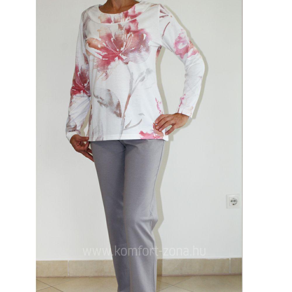 KO-GO női pasztell mintás hosszú pizsama szürke