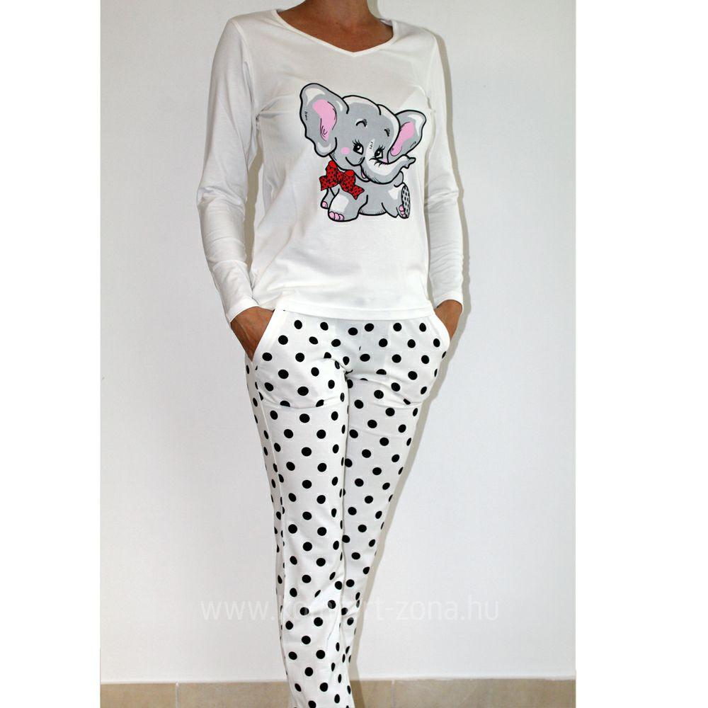 KO-GO női elefántos hosszú pizsama tojás