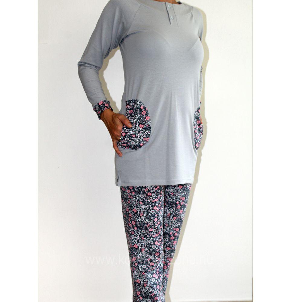 KO-GO női tunikás hosszú pizsama szürke