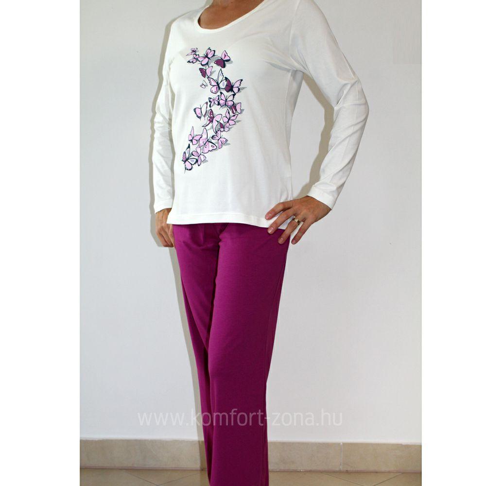KO-GO női pillangós hosszú pizsama lila
