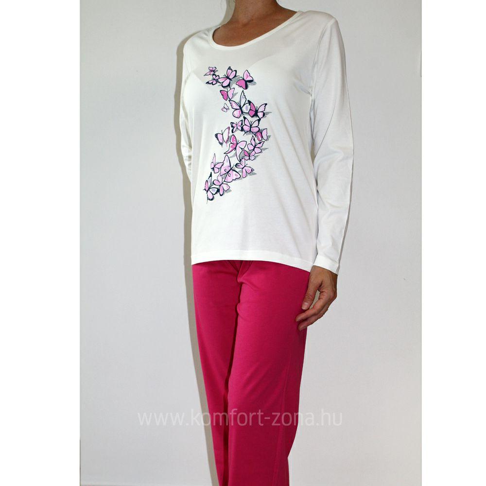 KO-GO női pillangós hosszú pizsama pink