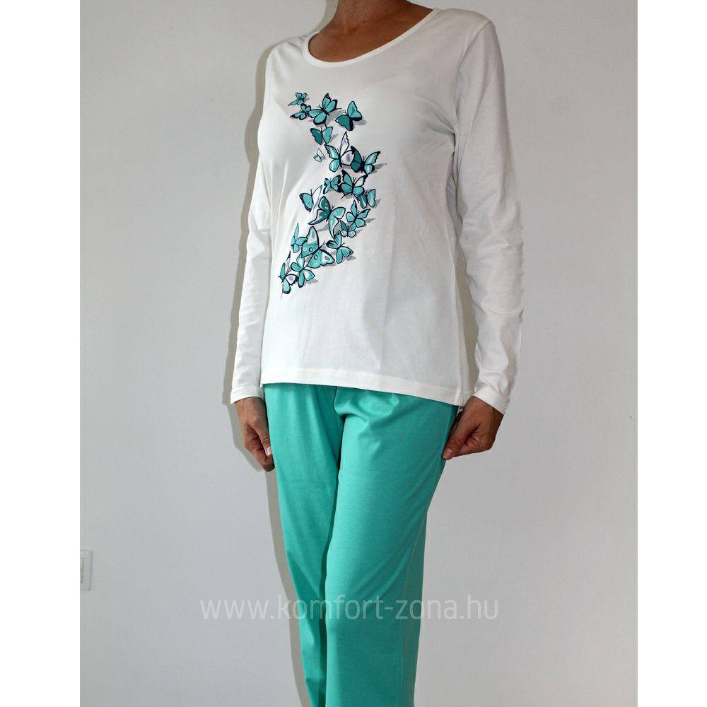 KO-GO női pillangós hosszú pizsama zöld