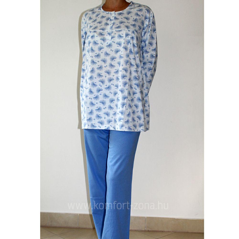 KO-GO női legyező mintás hosszú pizsama kék