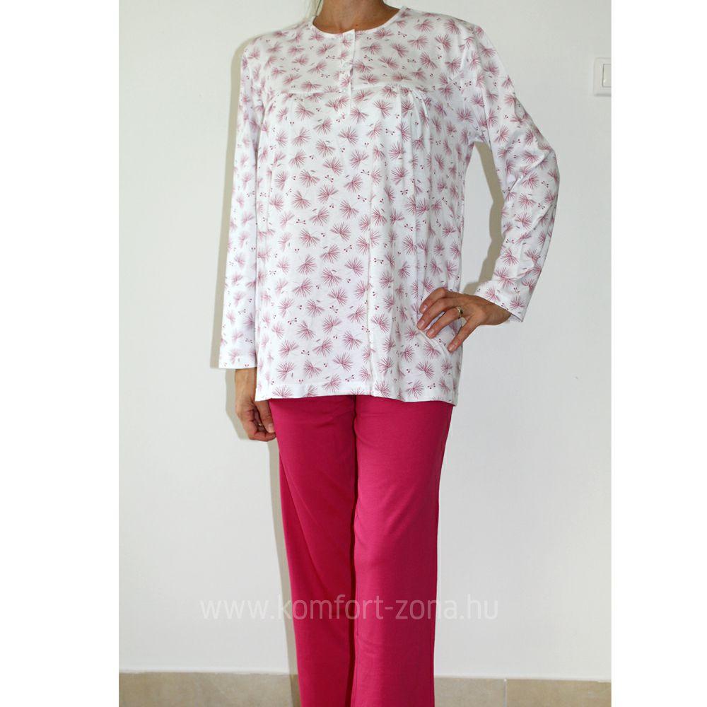 KO-GO női legyező mintás hosszú pizsama pink