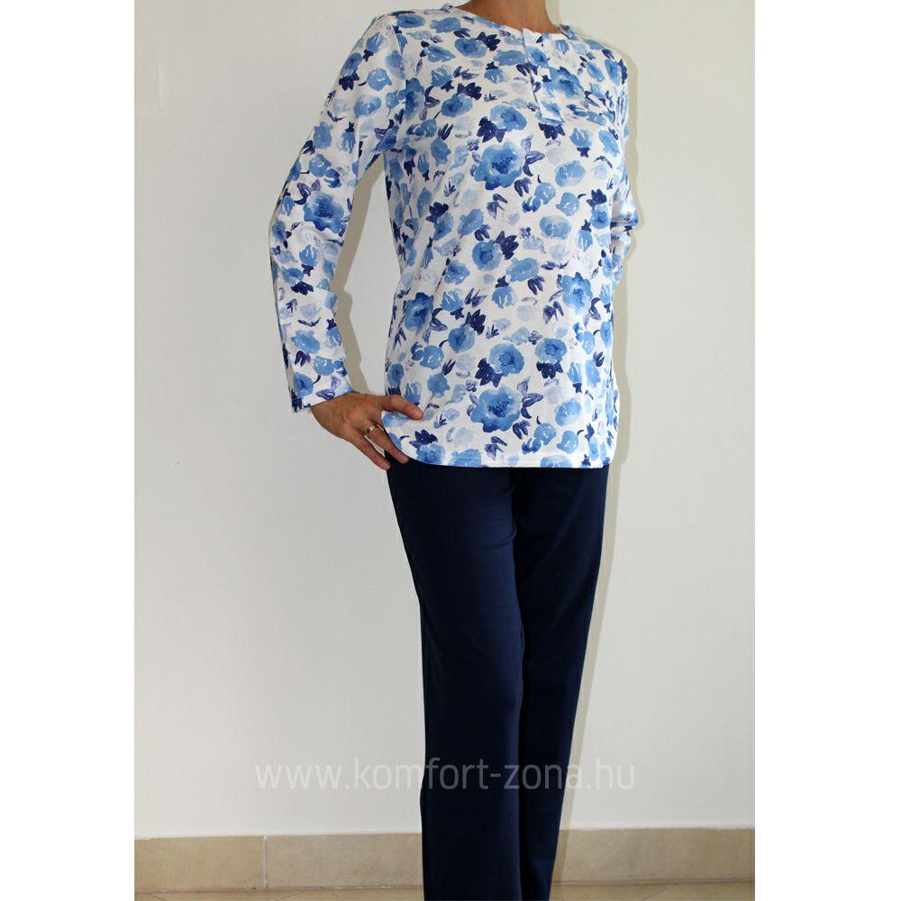 KO-GO női mosott virágmintás hosszú pizsama kék