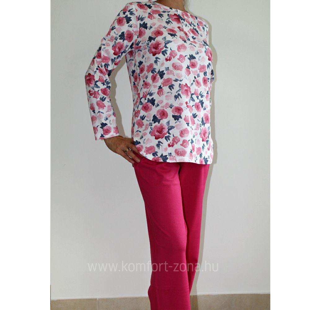 KO-GO női mosott virágmintás hosszú pizsama pink
