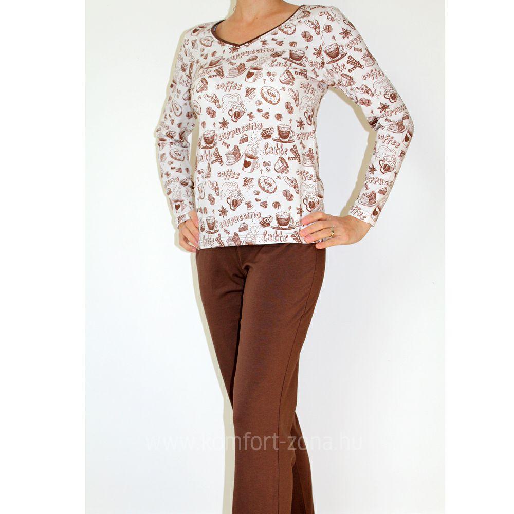 KO-GO női coffee hosszú pizsama
