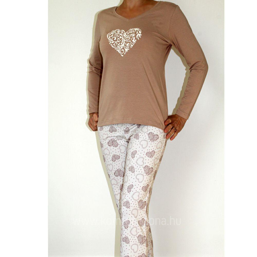 KO-GO női mézeskalács-szives hosszú pizsama