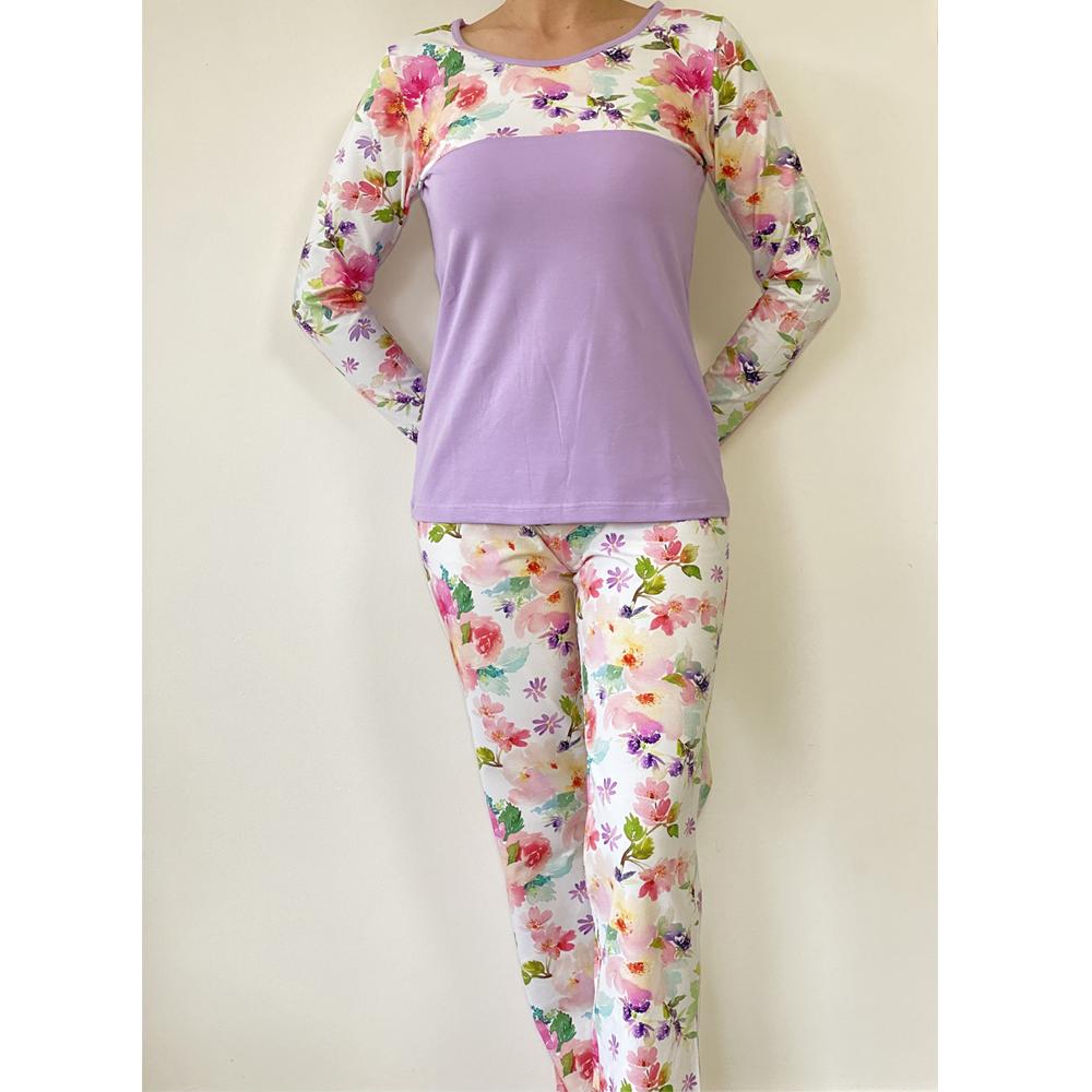 KO-GO Virágos Női hosszú Pizsama