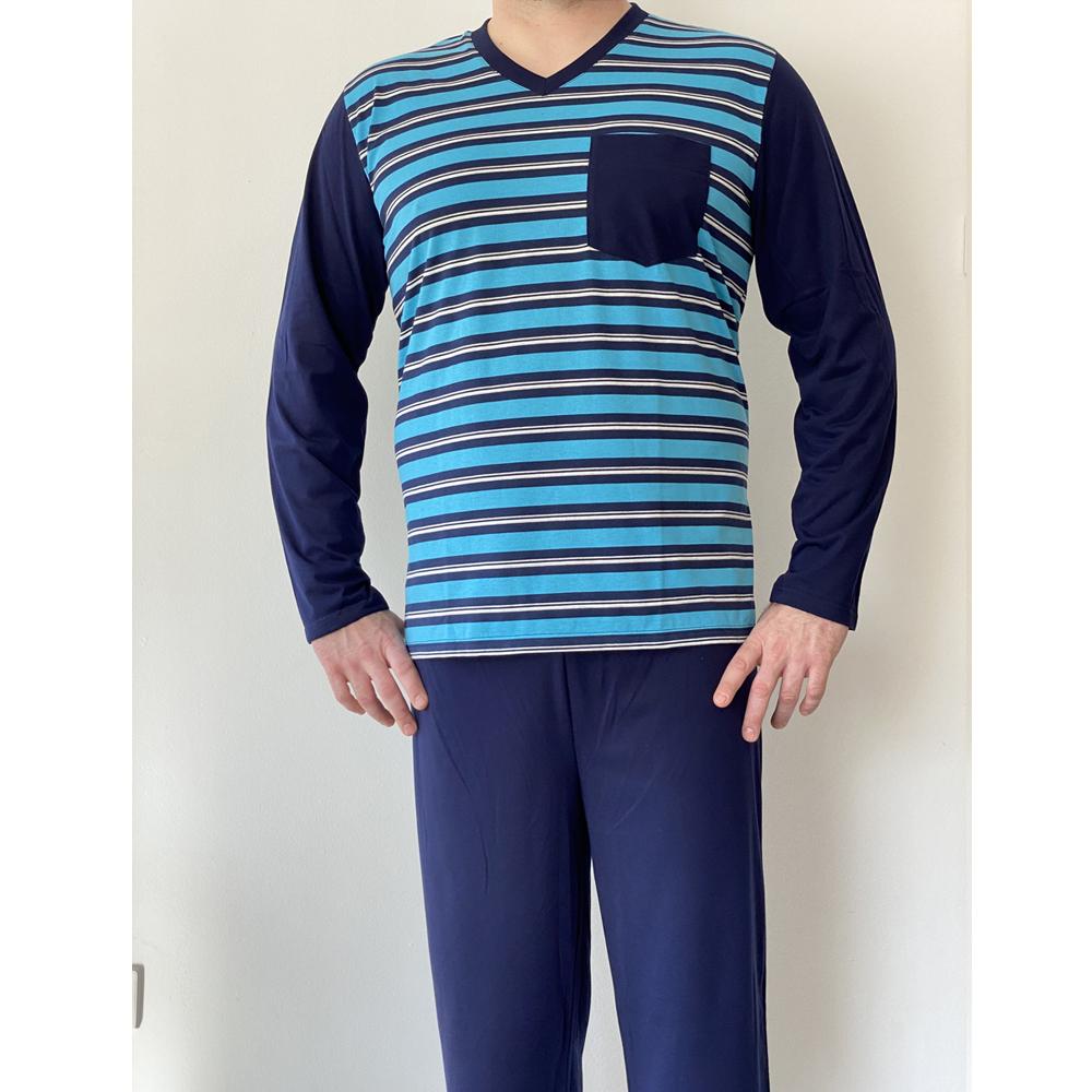 KO-GO Férfi Egyszínű Ujjú Hosszú Pizsama