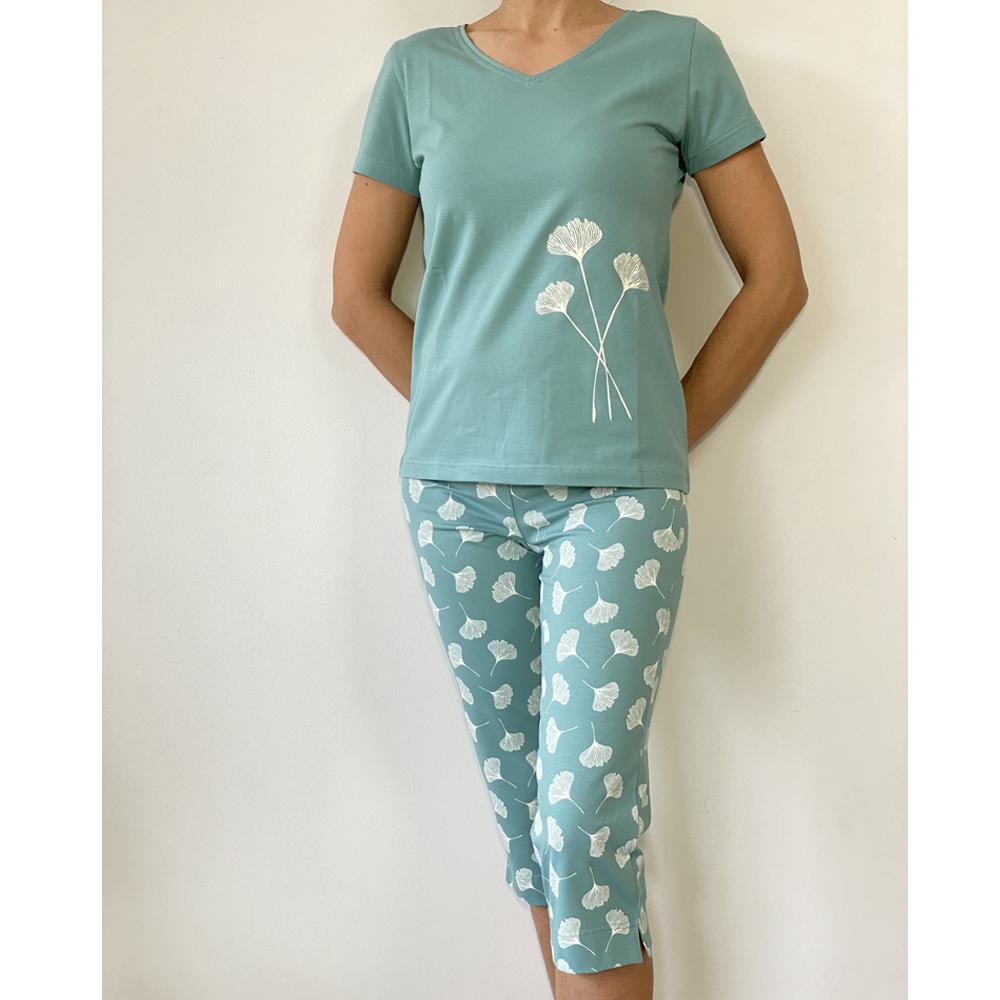 KO-GO Gingko-levél mintás Női halász pizsama
