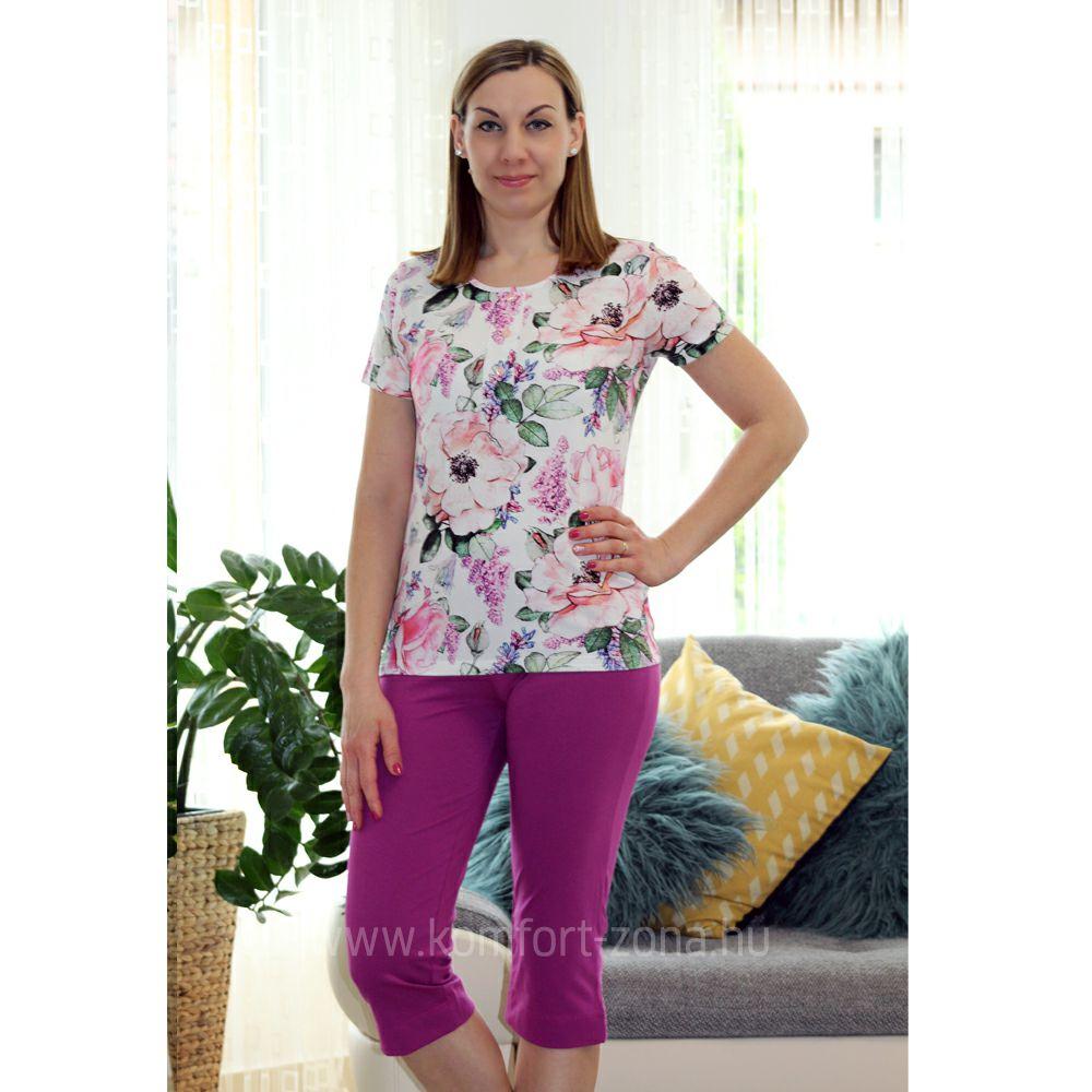 KO-GO Női Nagy-Virágmintás Lila Halász Pizsama