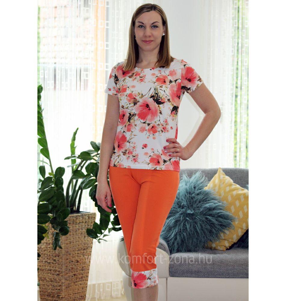 KO-GO Női Virágmintás Narancs Halász Pizsama