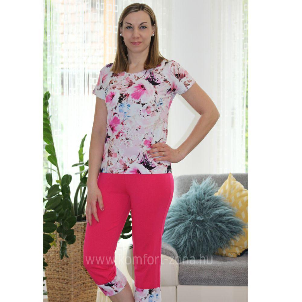 KO-GO Női Virágmintás Pink Halász Pizsama