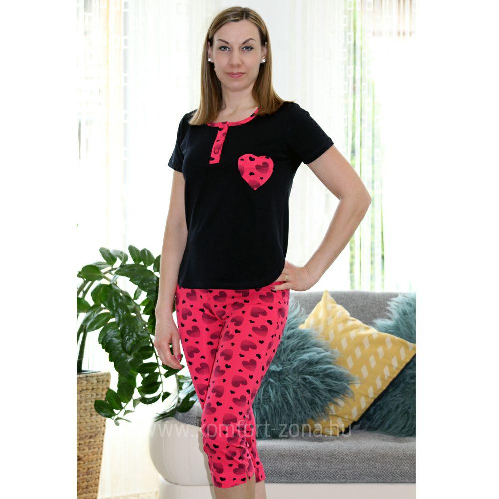 KO-GO Női Szív-mintás Pink Halász Pizsama
