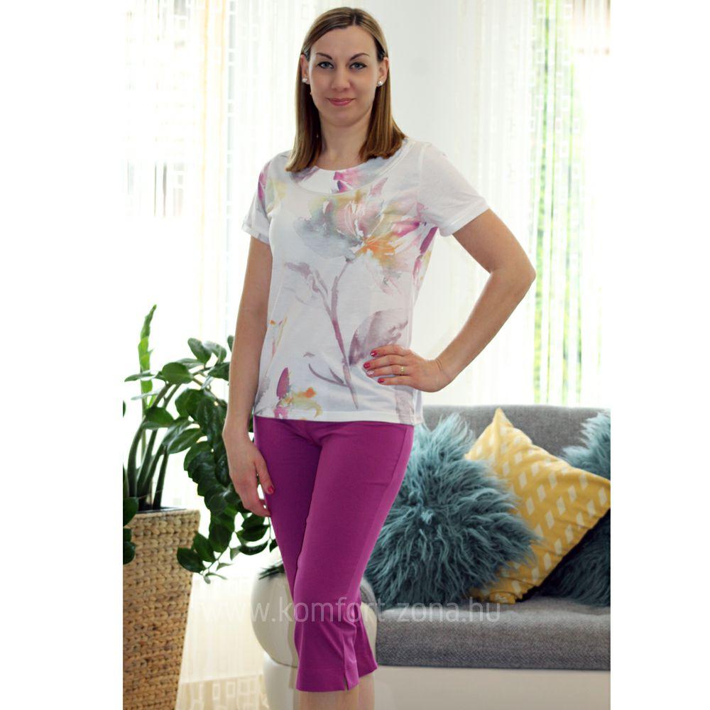 KO-GO Női Pasztell-mintás Lila Halász Pizsama