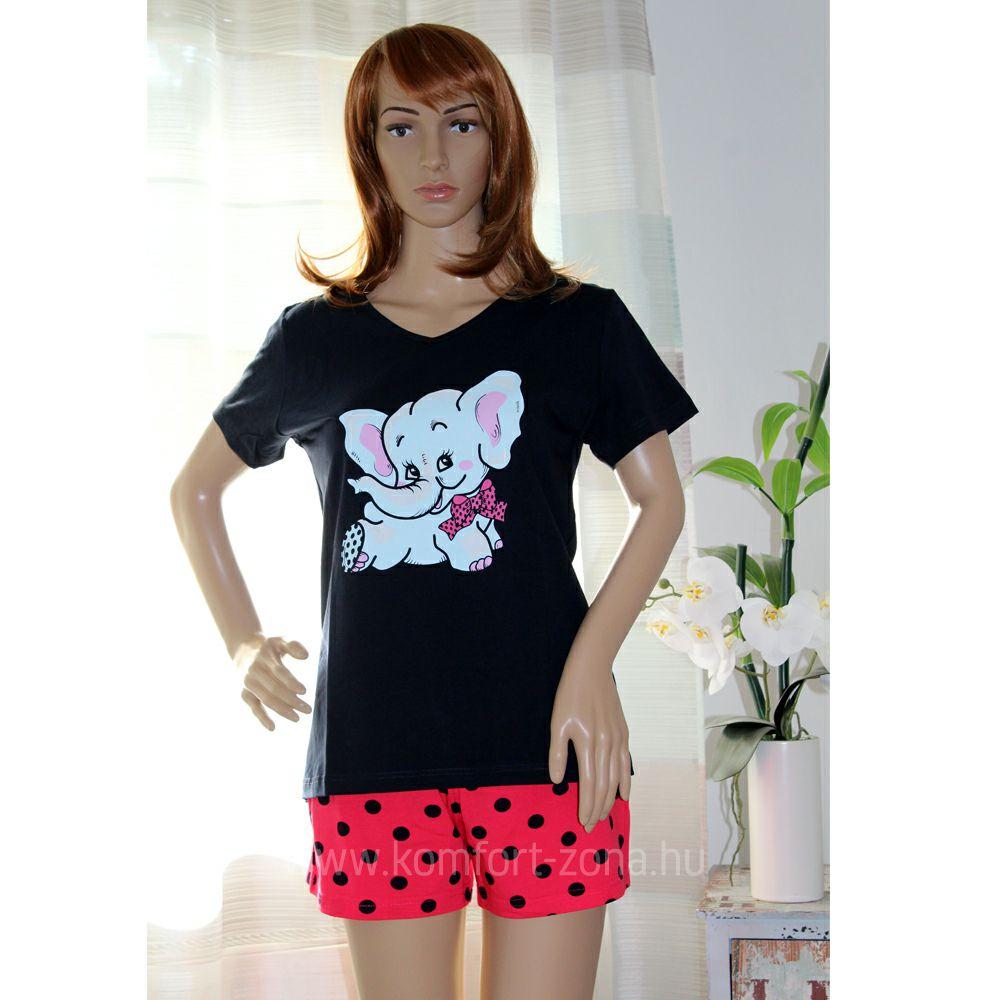 KO-GO Rövidnadrágos Elefántos Női Pizsama (pink)
