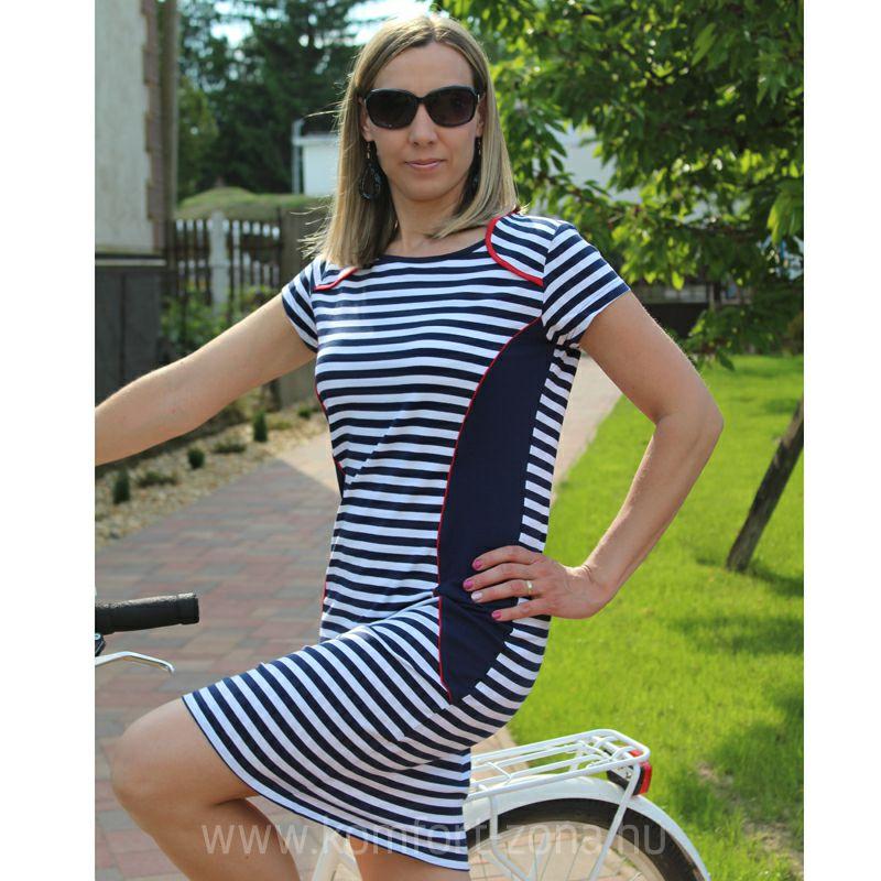 Nyári ruhák   KO-GO Női Karcsúsított Kék Fehér Csíkos Nyári Ruha -  Komfort-Zóna  fd6b4231d4