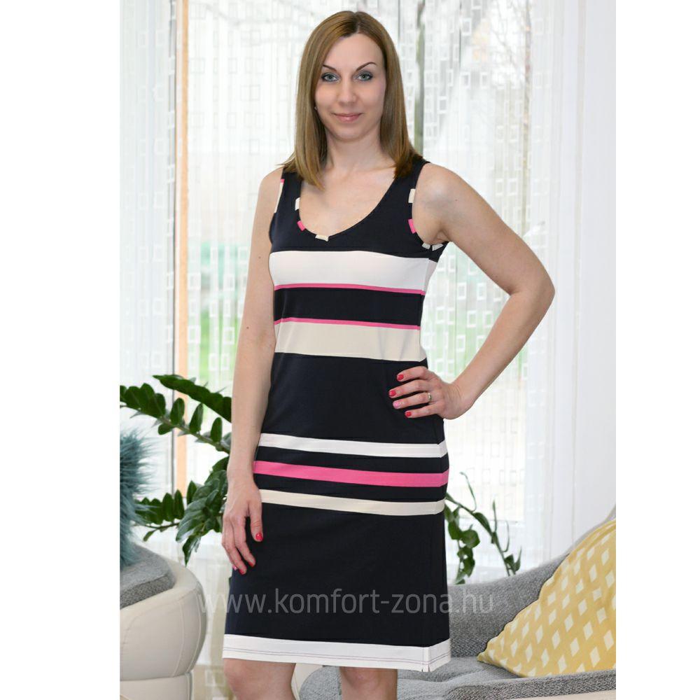 2cb9d9293 Nyári ruhák : KO-GO Női Elegáns Pink Csíkos Nyári Ruha - Komfort ...