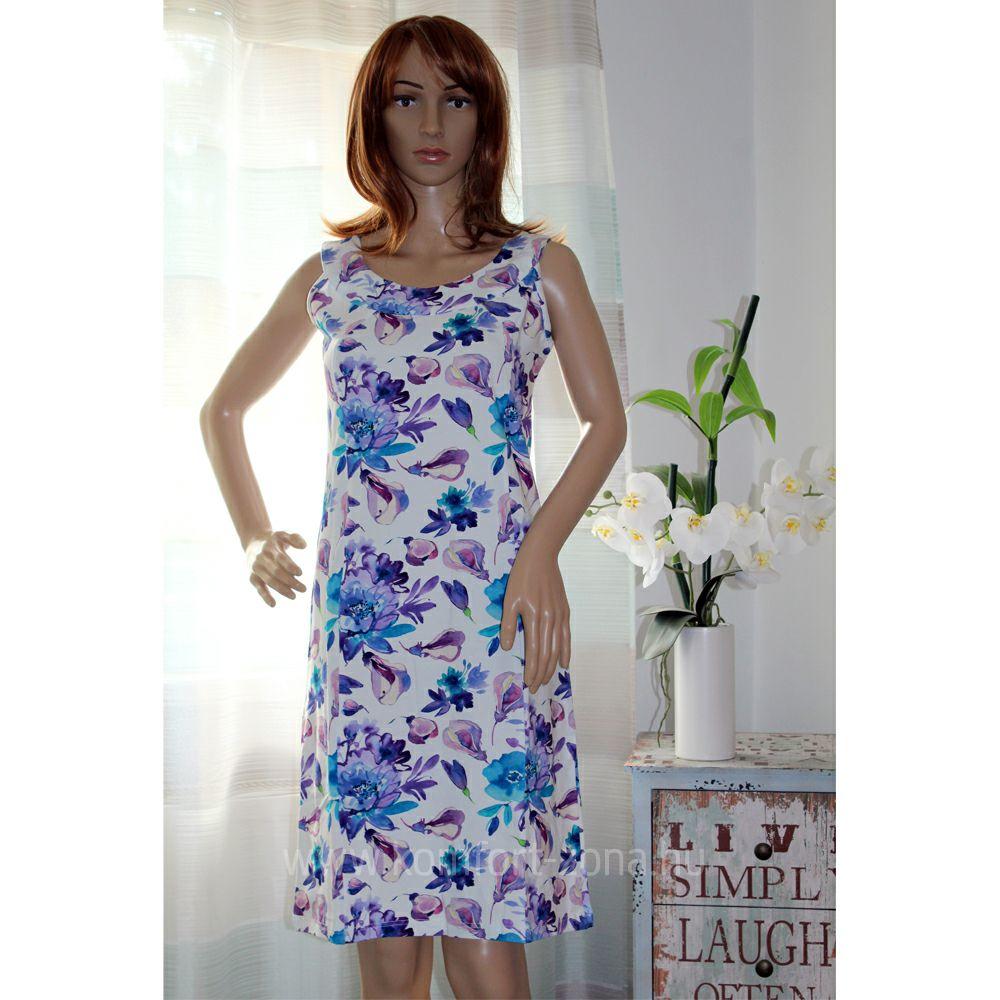 KO-GO Fehér alapon Virágmintás Nyári ruha (kék)