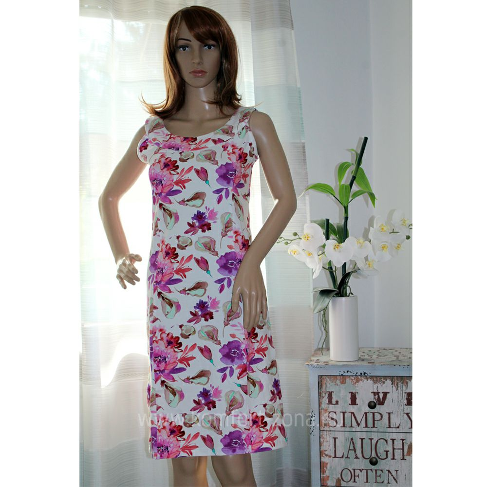 KO-GO Fehér alapon Virágmintás Nyári ruha (lila)