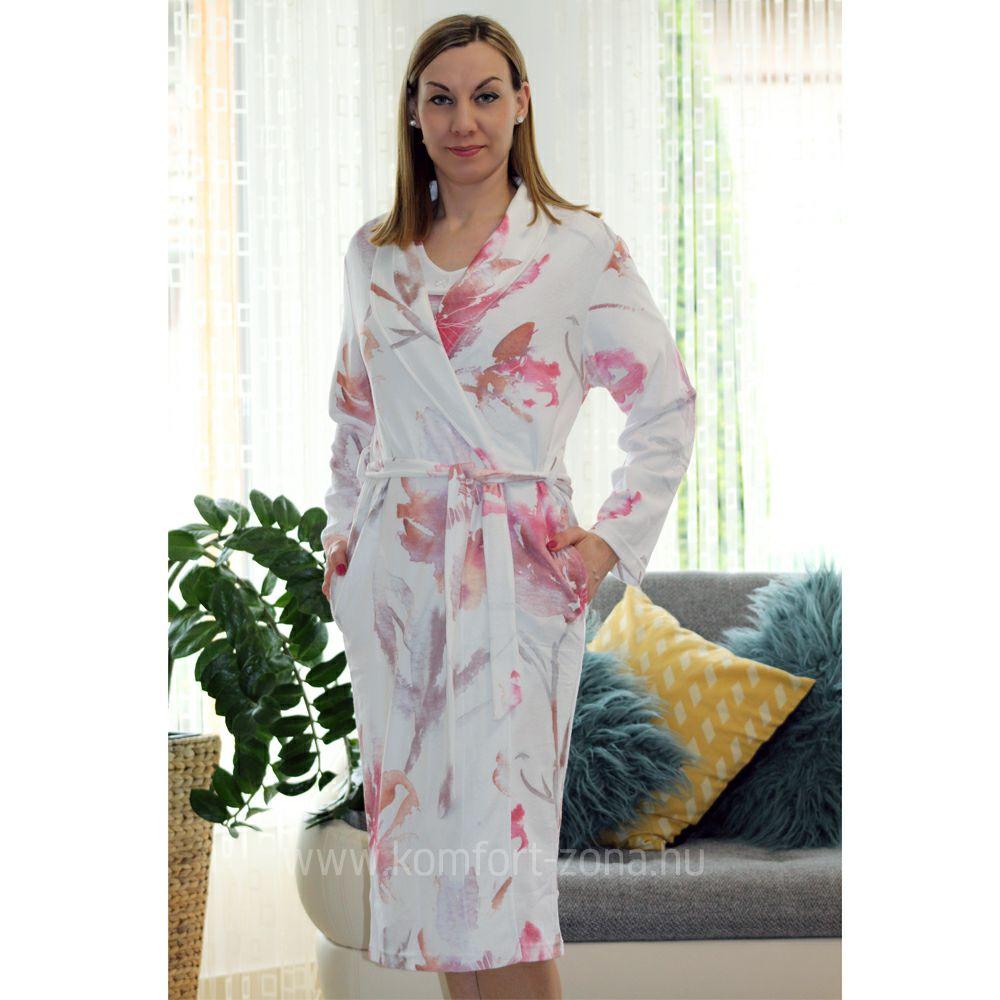 KO-GO Női Frottir Pink Pasztell-mintás Köntös
